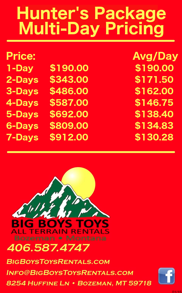 Hunter's Package Pricing | Big Boys Toys | Bozeman, MT